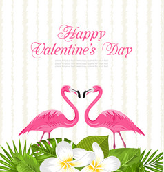 cute card with pink flamingos and green leaves vector image