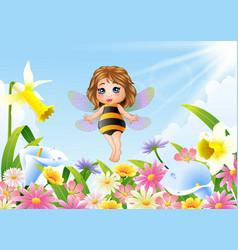 Cute fairy flying on flower field vector