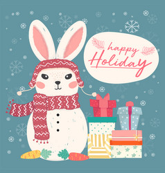 cute flat bunny snowman with pile gift boxes vector image