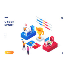 Cybersport arena with gamers or playerstournament vector