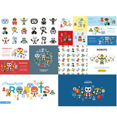 Digital companion robots icons set vector