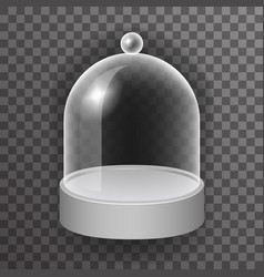 Dome glass showcase box isolated 3d realistic shop vector