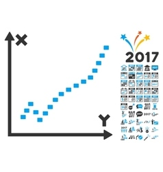 Dotted Function Plot Icon With 2017 Year Bonus vector