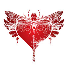 Dragonfly with abstract flying heart with wings vector