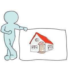 Drawn puppet standing near house vector