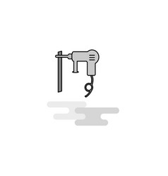 drill machine web icon flat line filled gray icon vector image