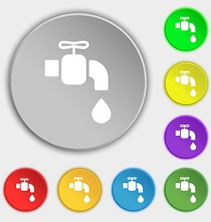 Faucet icon sign Symbol on eight flat buttons vector