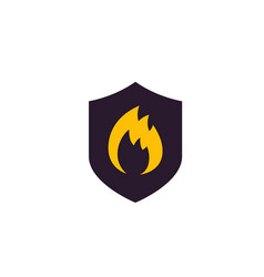 Fire protection icon with shield vector