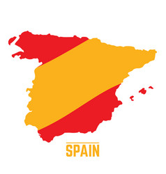 Flag and map of spain vector