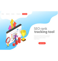 Flat isometric landing page template of seo vector