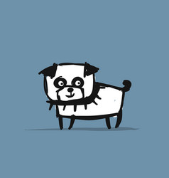 Funny pug dog sketch for your design vector