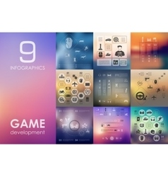 Gaming infographic with unfocused background vector