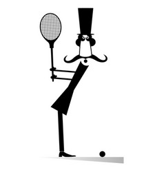 gentleman plays tennis isolated vector image
