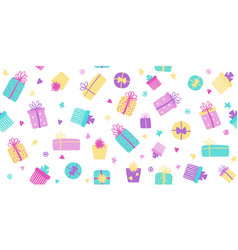gift boxes seamless pattern cute long vector image