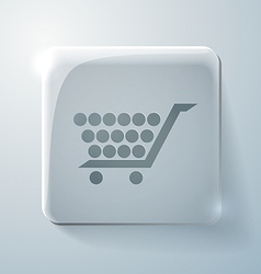 Glass icon with highlights cart online store vector image