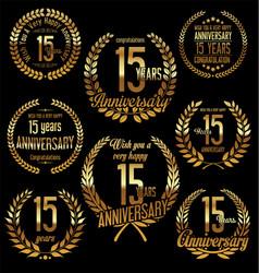 Golden laurel wreath anniversary collection 15 vector