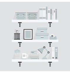 gray office supplies set on shelves icons vector image