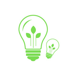 Green contour of electric light bulb with three vector