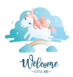 Greeting card with welcome little one vector