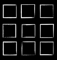 grunge frames isolated white square borders vector image