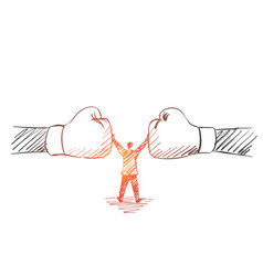 Hand drawn man standing between two human fists vector