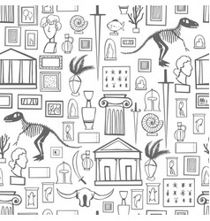 Hand drawn museum set seamless pattern vector