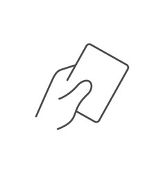 Hand holding card line icon vector
