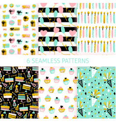 Happy birthday seamless patterns vector