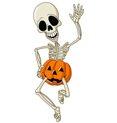 happy skeleton vector image