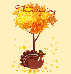 happy thanksgiving celebration with cartoon turkey vector image