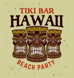 hawaiian tiki wooden heads colorful emblem vector image