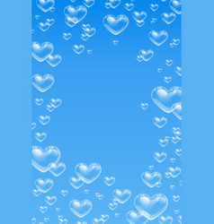 Heart shaped bubbles underwater on blue background vector