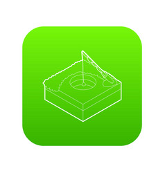 hole for ice fishing icon green vector image