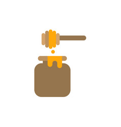 Honey jar and honey stick flat design icon vector