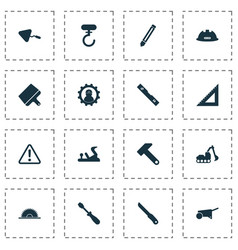 industrial icons set with plane hammer turn vector image