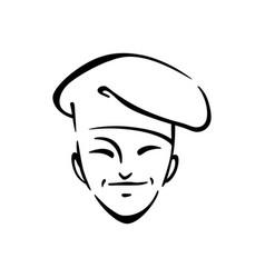 Korean chef cook contour vector