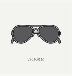 line flat color vintage fashion sunglasses vector image