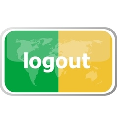 logout word on web button icon isolated on vector image