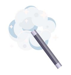 Magic wand casting spell flat vector