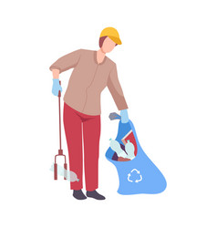 man collecting trash into bag with eco friendly vector image