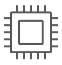 microchip core line icon electronic and digital vector image