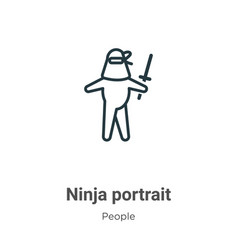 Ninja portrait outline icon thin line black vector