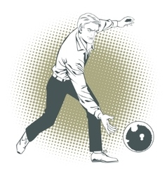 People in retro style Man throws ball in bowling vector