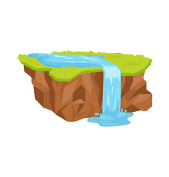 Piece land with waterfall isolated vector