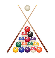 pool billiard balls starting position with crossed vector image