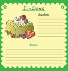 recipe lime cupcake vector image