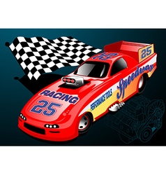 Red Dragster racing car with chequered flag and vector
