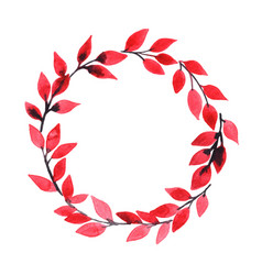 Red leaves wreath watercolor for autumn season vector