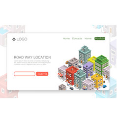 road in the city isometric banner vector image