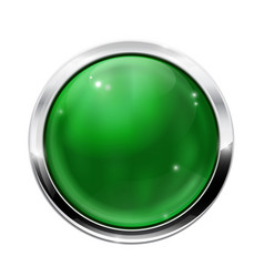 round green button with chrome frame vector image